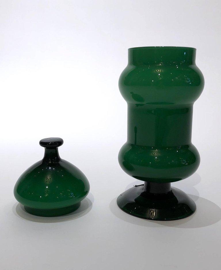 Martyn Lawrence Bullard Design Emerald Green Glass Vase With Lid
